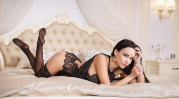 Gorgeous girl in a sexy black lingerie